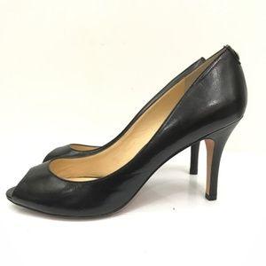 Ivanka Trump Cleo black leather peep toe pumps 11